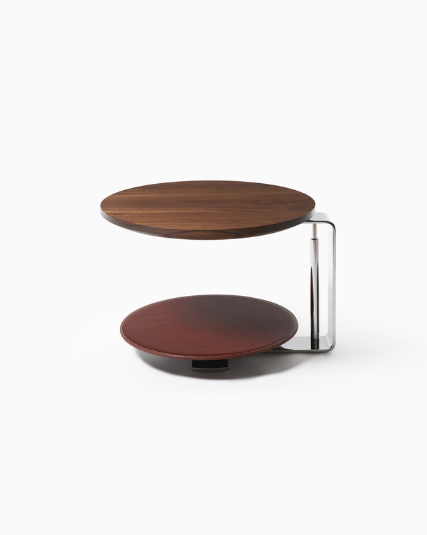 Occasional Table Echo Side Table - Polished Stainless Steel - Walnut Top - Saddle Leather