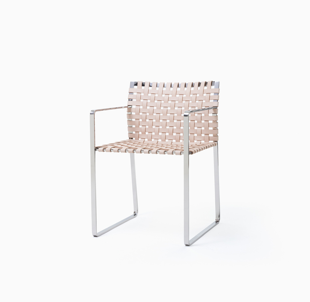 Arm Chair Arm Chair - Polished Stainless Steel + Natural