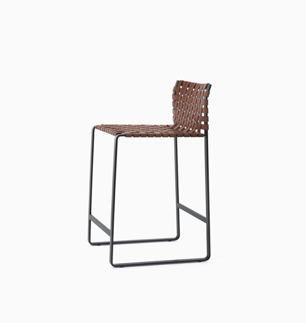 Stool Low Woven Back - Counter Stool