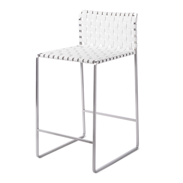 Outdoor Low Woven Back Counter Stool - Satin Stainless Steel - White Strap