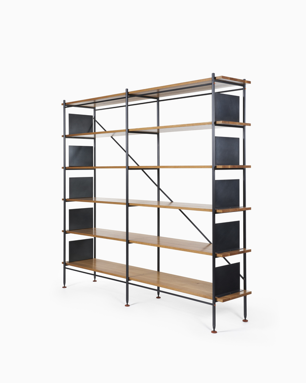 Hardwood Shelving White Oak Shelving - Black Steel Bookends and Frame
