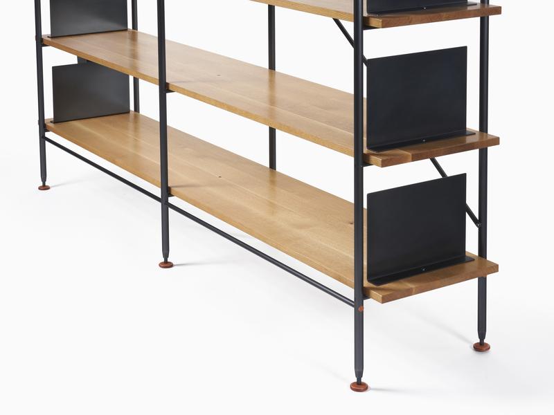 Hardwood Shelving White Oak Shelving - Black Steel Bookends and Frame