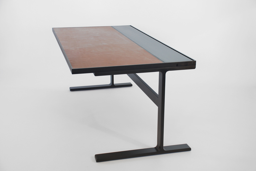 Desk Desk - Black Steel - Saddle Leather Inset Top