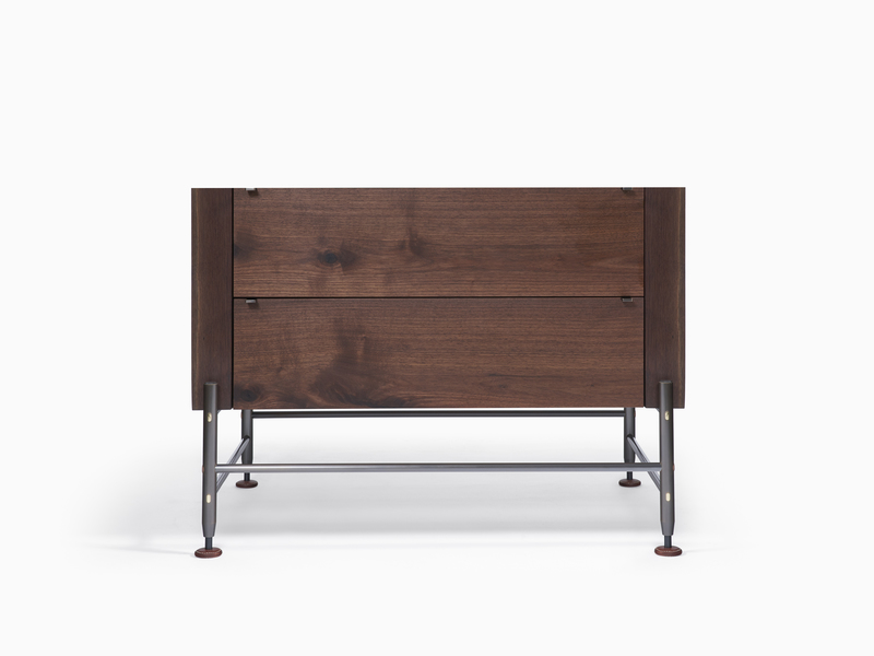 Hardwood Credenza Hardwood Nightstand - Walnut - Dark Bronze Base and Hardware