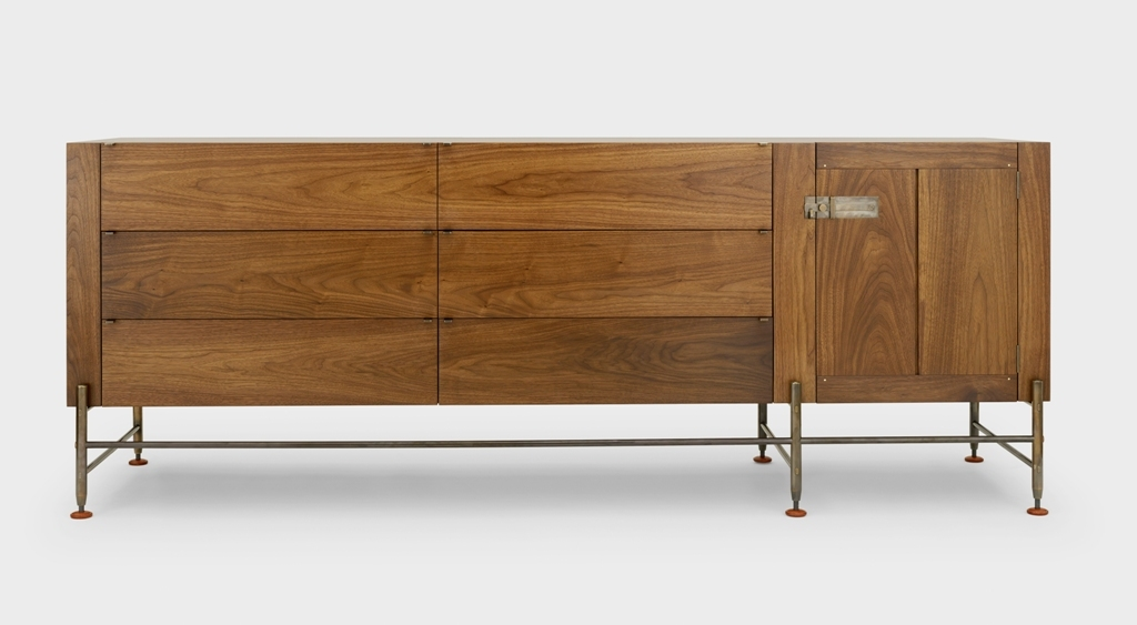 Hardwood Credenza Hardwood Credenza - 6 Drawer + Door - Walnut- Live Finish Medium Bronze