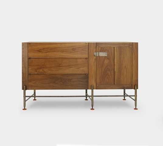 Hardwood Credenza Hardwood Credenza - 3 Drawer + Door - Walnut- Live Finish Medium Bronze