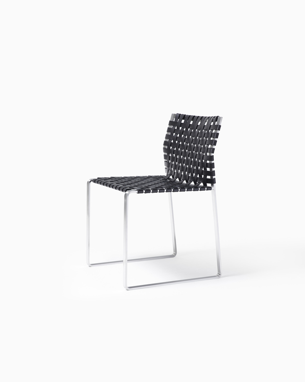 Side Chair Side Chair - Narrow Strap - Satin with Black Leather