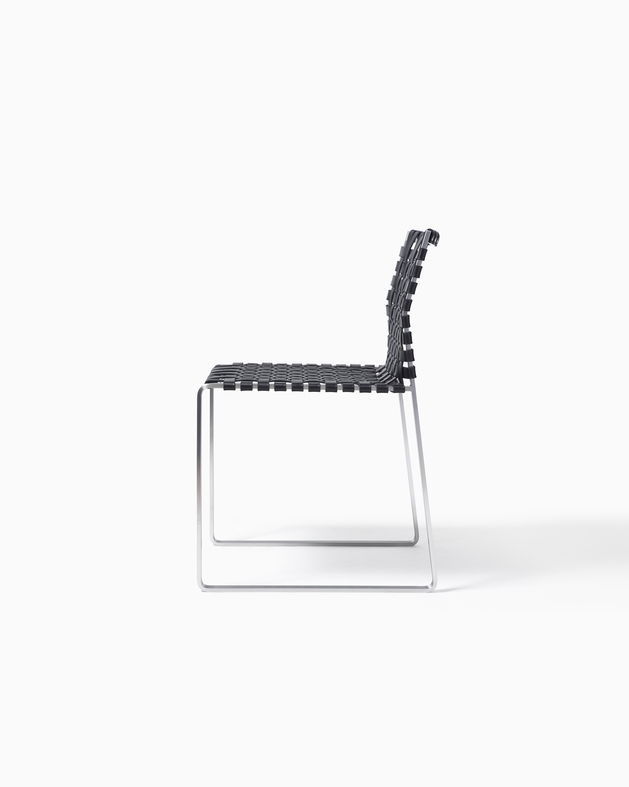 Side Chair Side Chair - Narrow Strap -Satin with Black Leather