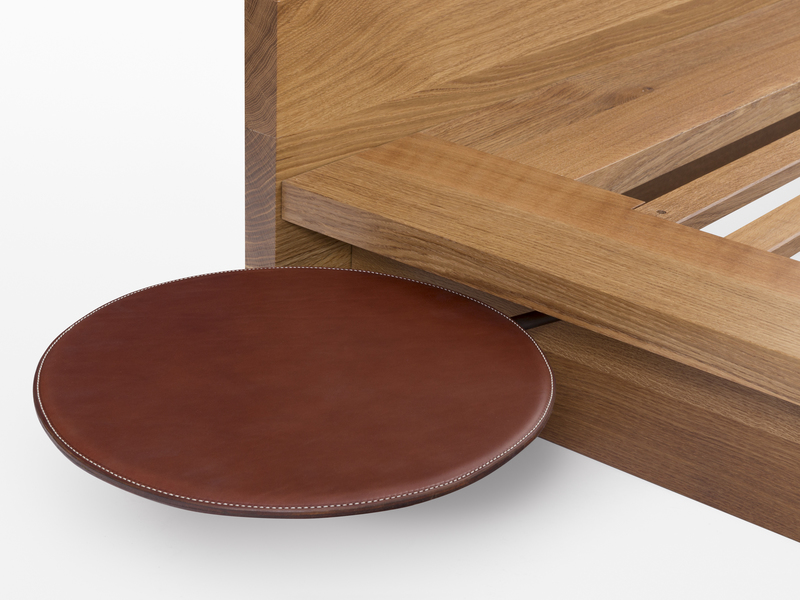 Bed Saddle Leather Shelf with Black Steel Pivot Hinge