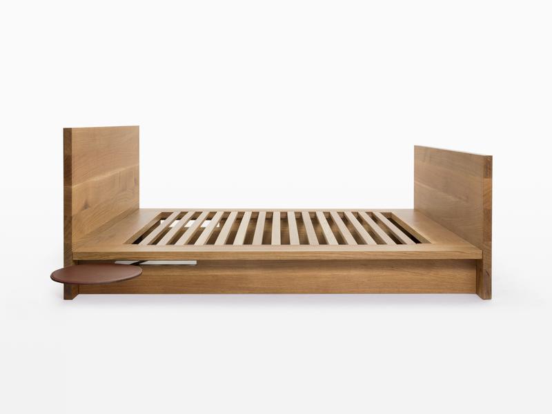 Bed Garrison Bed - White Oak with Saddle Leather Shelf