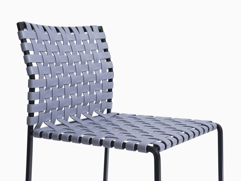 Outdoor Outdoor Counter Stool- High Woven Back - Black Powder Coated Stainless Steel - Grey