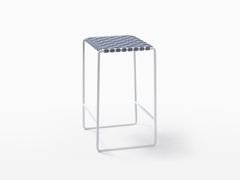 Outdoor Outdoor Backless Counter Stool - White Powder Coated Stainless Steel - Grey