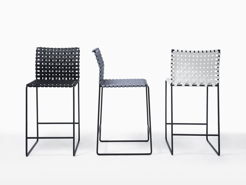 Outdoor Outdoor Stools - High Woven Back - Black Powder Coated Stainless Steel