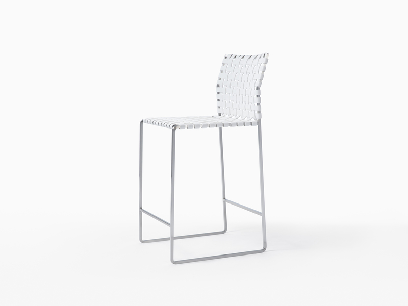 Outdoor Outdoor Counter Stool - Satin Stainless Steel - White