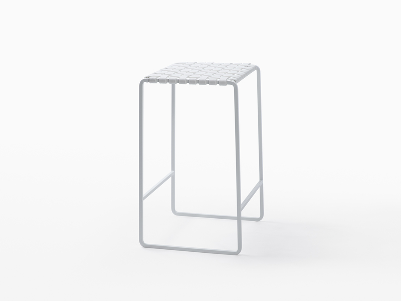 Outdoor Outdoor Backless Stool - White Powder Coated Stainless Steel - White