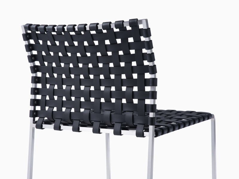 Outdoor Outdoor Side Chair - Satin Stainless Steel - Black
