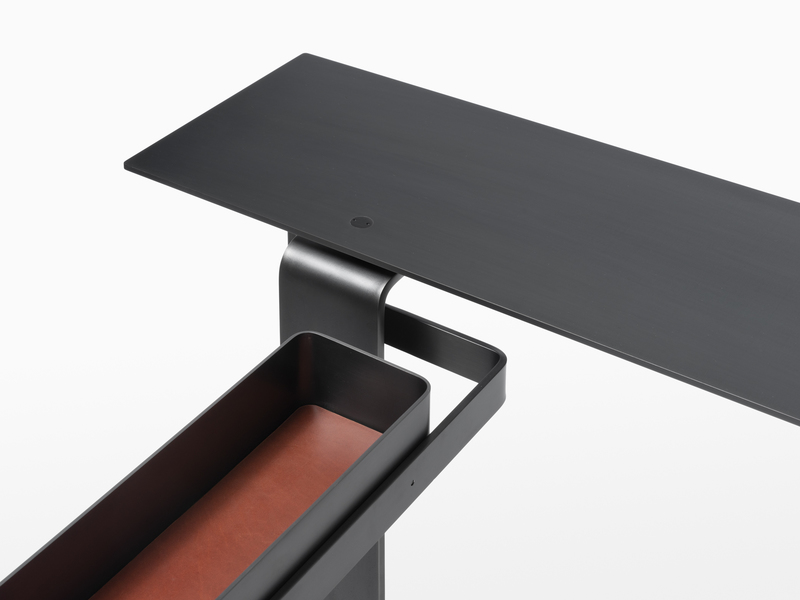Console Console One - Black Steel - Leather Lined Pivot Drawer