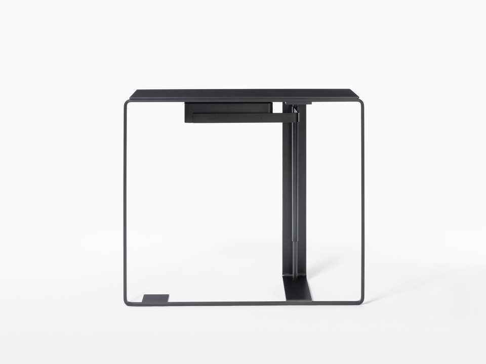 Console Console One - Black Steel with Oak Top