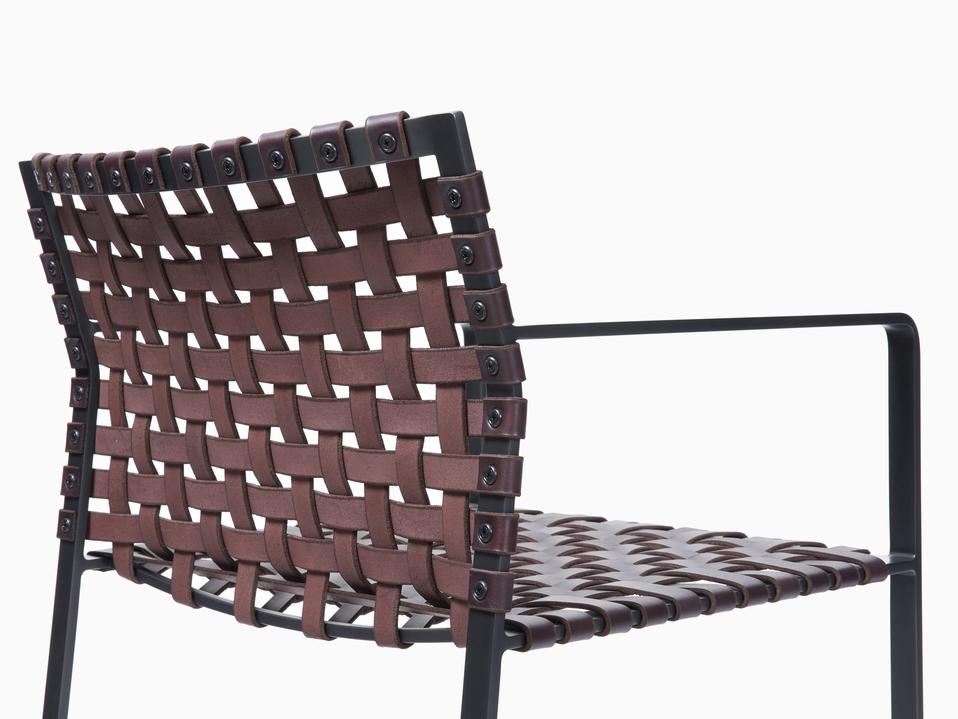 Arm Chair Arm Chair - Black Steel - Dark Brown Leather