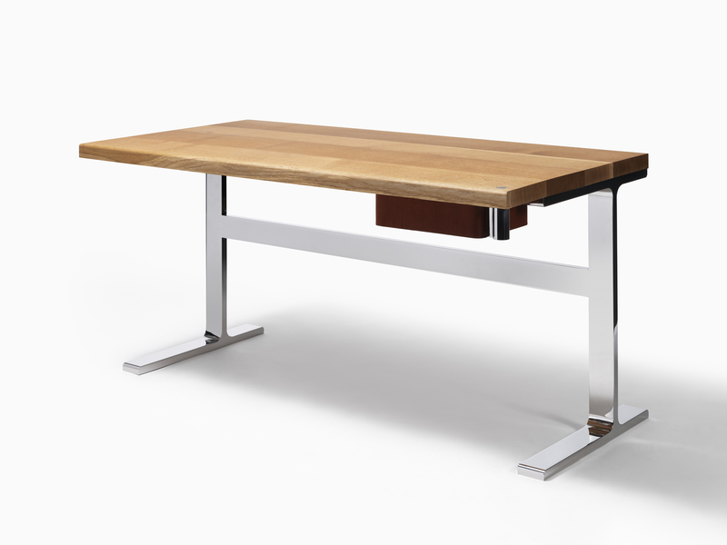 Desk Desk 2 - Polished Stainless Steel, Oak Top