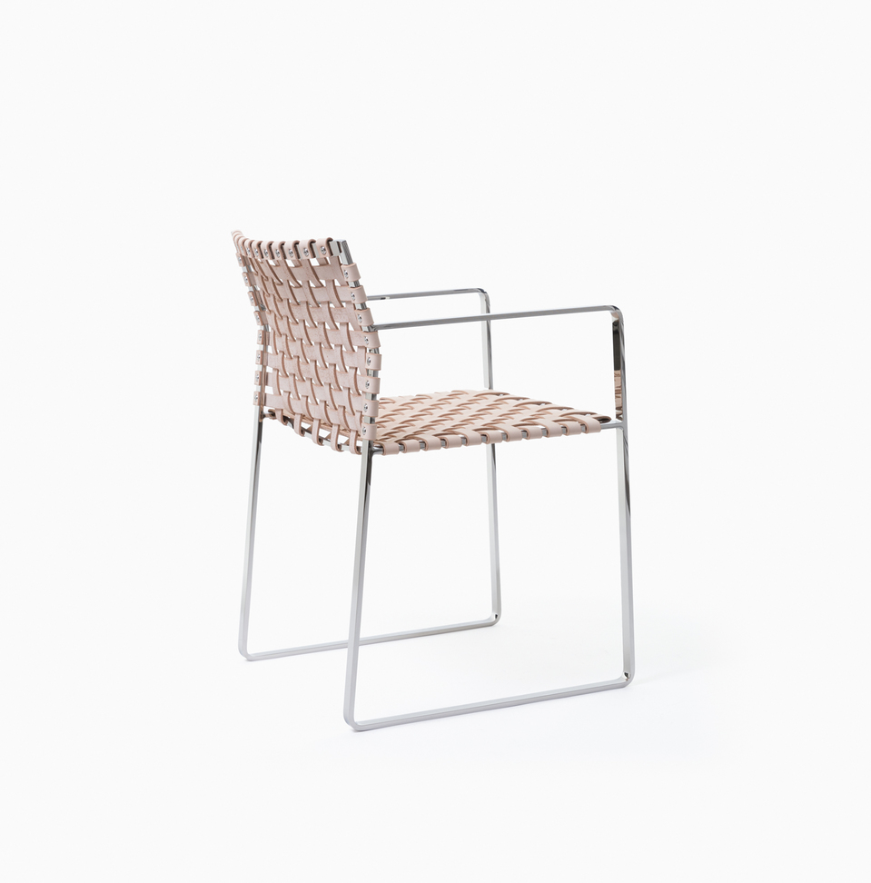 Arm Chair Arm Chair - Polished Stainless Steel - Natural Leather