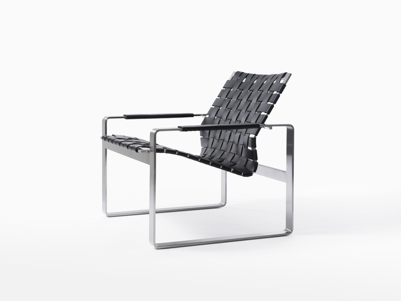 Lounge Chair Brava Arm Chair - Satin Stainless Steel - Black Leather