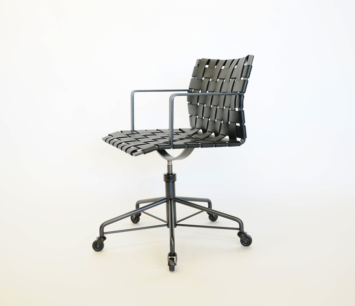 Task Chair Task Chair with Arms - Wide Strap - Black Steel with Black Leather