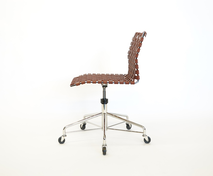 Task Chair Task Chair - Narrow Strap - Polished Stainless Steel with Saddle Leather