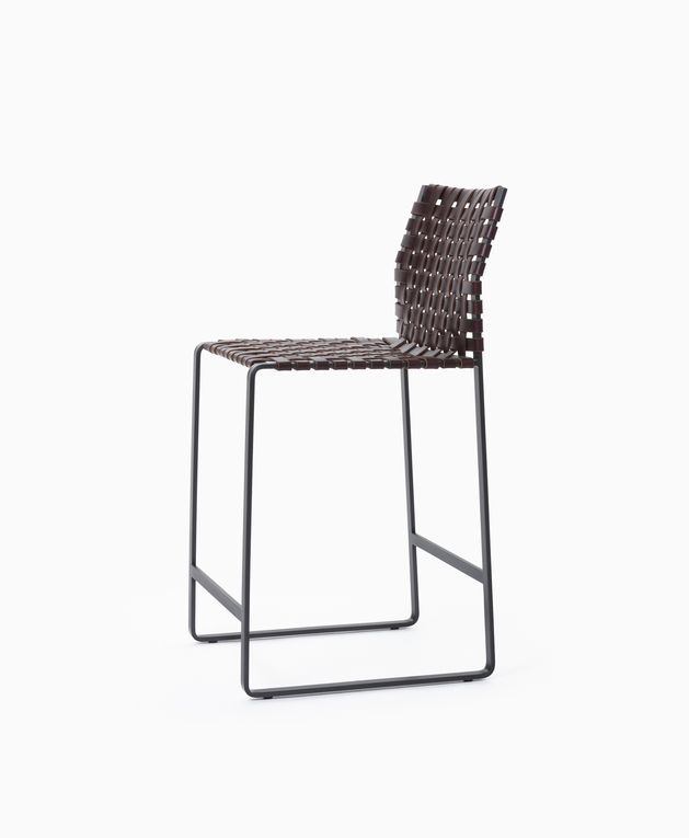 Stool Counter Stool - High Woven Back - Black Steel and Dark Brown Leather