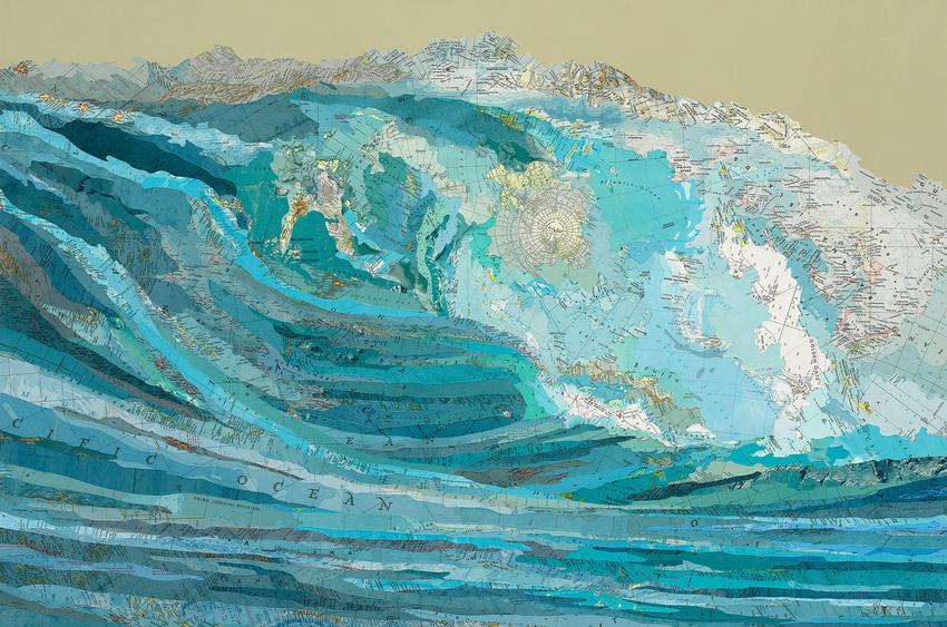 Matthew Cusick Map Works Inlaid maps, acrylic, on panel
