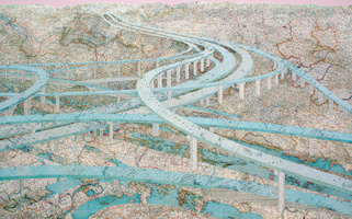 Matthew Cusick  Inlaid maps, acrylic, on panel
