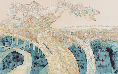 Matthew Cusick  Inlaid maps, acrylic on panel