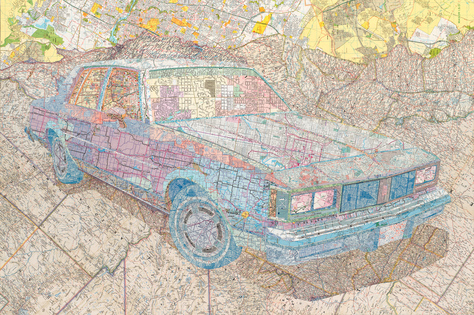 Matthew Cusick  Inlaid maps on panel