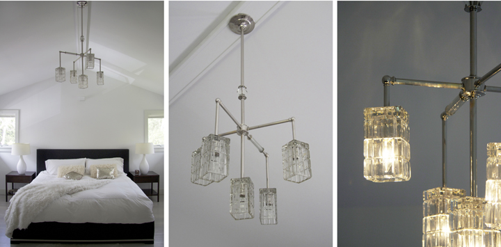BRILLIANT 5 CUBE GLASS FIXTURE WITH VINTAGE CUBE GLASS AND 2 VINTAGE  JEWELRY ELEMENTS (POLISHED NICKEL FINISH), 2014<br/>
