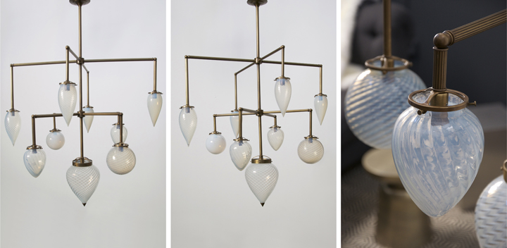 BRILLIANT 9 GLOBE FIXTURE WITH VINTAGE OPALESCENT GLASS (NATURAL BRASS FINISH), 2014<br/>