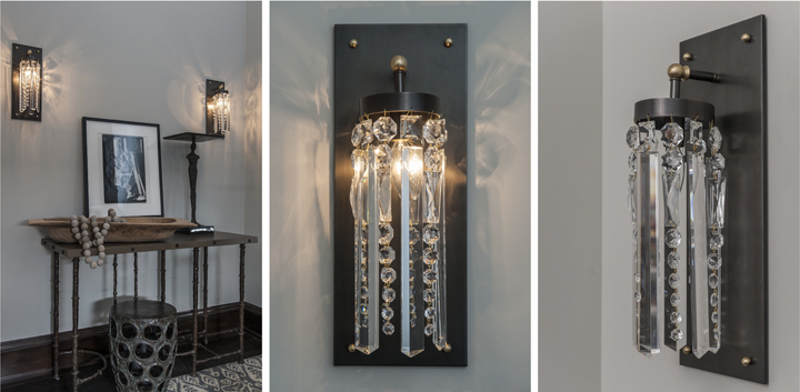 Michelle James NYC  CRYSTAL WALL SCONCE (BLACKENED AND NATURAL BRASS FINISH), 2014<br/>