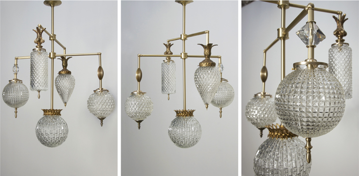 BRILLIANT 5 GLOBE FIXTURE WITH VINTAGE JEWELRY ELEMENTS (NATURAL BRASS FINISH WITH MATTE LACQUER), 2015<br/>