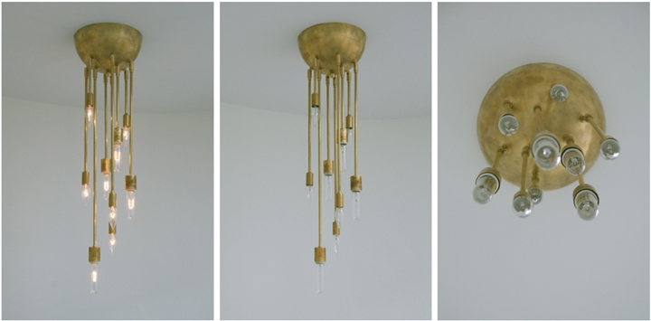 Michelle James NYC  AXIS 9 ARM FIXTURE (NATURAL BRASS FINISH), 2010<br/>