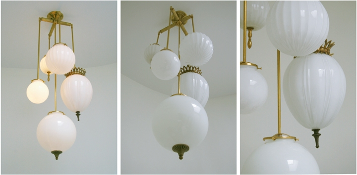 Michelle James NYC  BRILLIANT 5 GLOBE FIXTURE WITH VINTAGE MILK GLASS (NATURAL BRASS FINISH), 2010<br/>