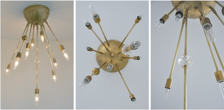 AXIS 9 ARM FIXTURE WITH CRYSTAL BALL (NATURAL BRASS FINISH), 2011<br/>