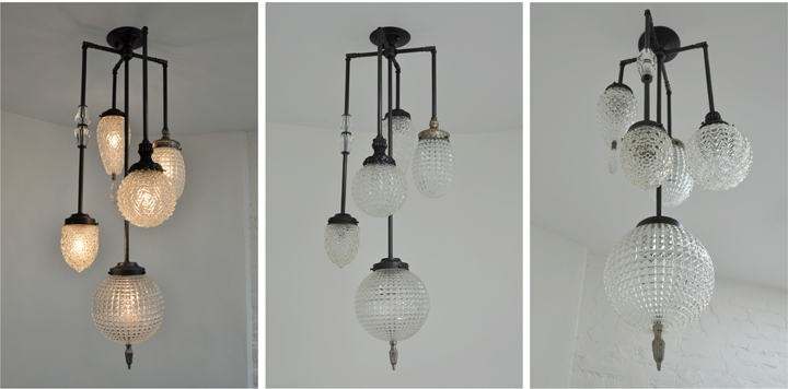 BRILLIANT 5 GLOBE FIXTURE WITH VINTAGE GLASS JEWELRY (BLACKENED BRASS FINISH), 2012<br/>