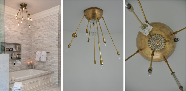 AXIS 9 ARM FIXTURE WITH VINTAGE GLASS JEWELRY (NATURAL BRASS FINISH), 2012<br/>