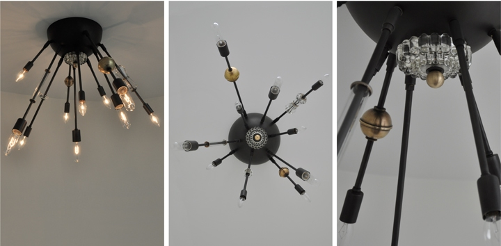 AXIS 10 ARM FIXTURE WITH VINTAGE GLASS JEWELRY (BLACKENED BRASS FINISH), 2012<br/>