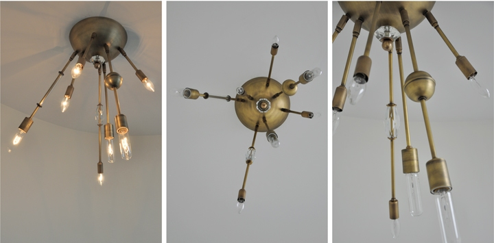 AXIS PATINATED BRASS 7 ARM LIGHT WITH VINTAGE GLASS JEWELRY, 2012<br/>