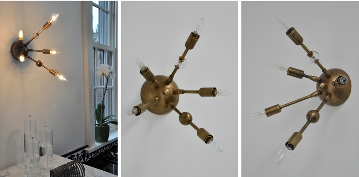 AXIS 5 ARM WALL SCONCE WITH VINTAGE GLASS JEWELRY (ANTIQUE BRASS FINISH), 2012<br/>