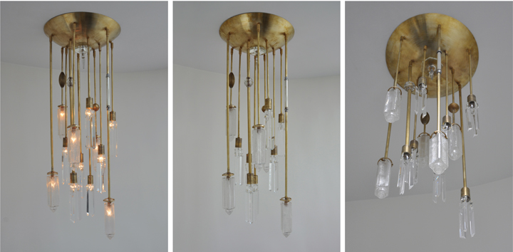 AXIS 12 ARM FIXTURE WITH VINTAGE GLASS GLOBES AND VINTAGE GLASS JEWELRY (NATURAL BRASS FINISH), 2012<br/>