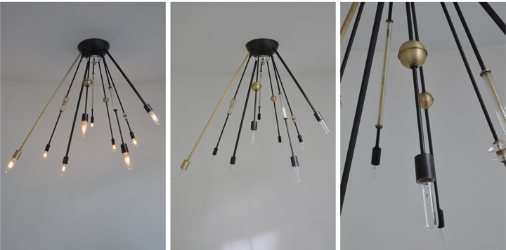AXIS 9 ARM FIXTURE WITH VINTAGE GLASS JEWELRY (BLACKENED AND NATURAL BRASS FINISH), 2012<br/>
