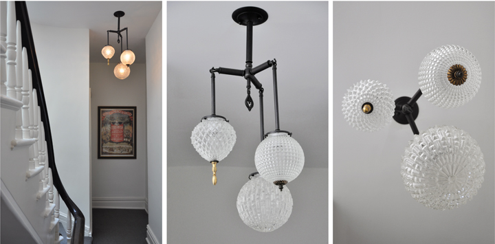 BRILLIANT THREE GLOBE FIXTURE WITH VINTAGE BRASS ELEMENTS (BLACKENED BRASS FINISH), 2010<br/>