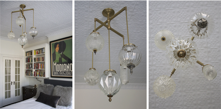 BRILLIANT 5 GLOBE FIXTURE WITH VINTAGE BRASS ELEMENTS (NATURAL BRASS FINISH), 2013<br/>