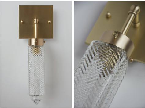 Michelle James NYC  CHRYSLER GLASS GLOBE WALL SCONCE (NATURAL BRASS FINISH), 2013<br/>